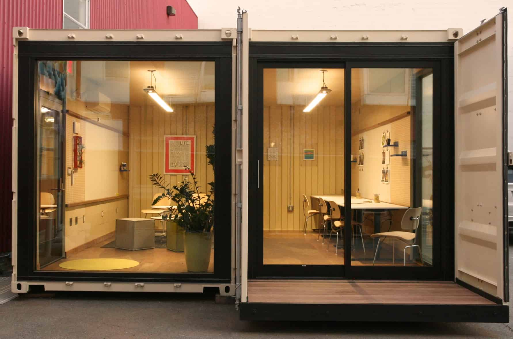 Repurposed cargo container meeting space