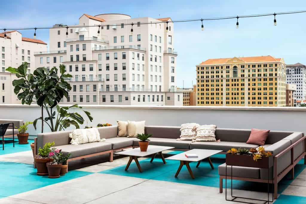 Bright and open rooftop terrace with stunning views of Coral Gables miami rental