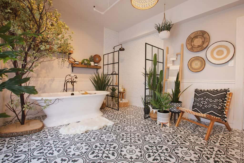 Downtown Farmhouse Bohemian Bathroom with Bathtub los angeles rental