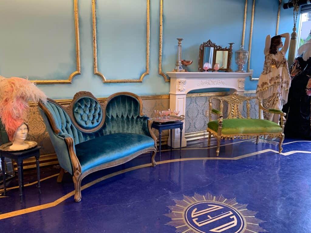 Exquisite Art Deco Vintage Clothing Boutique Boudoir style space los angeles rental