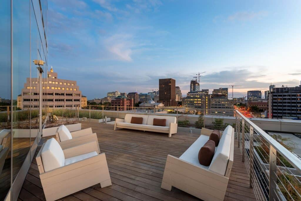 Indoor & Outdoor lounge within SXSW Center with gorgeous views of Downtown Austin rental