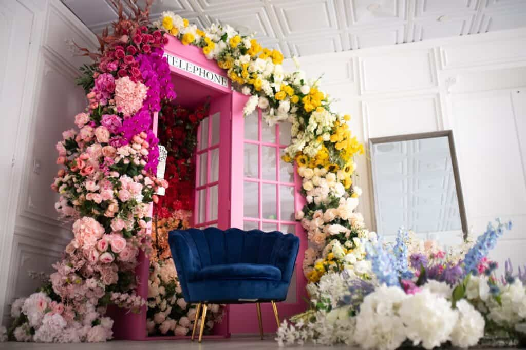 Naturally Lit Elegant White room With 3 Spring Floral Setups toronto rental