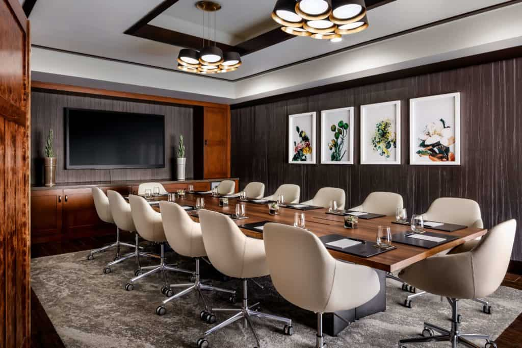 sleek and cozy meeting space