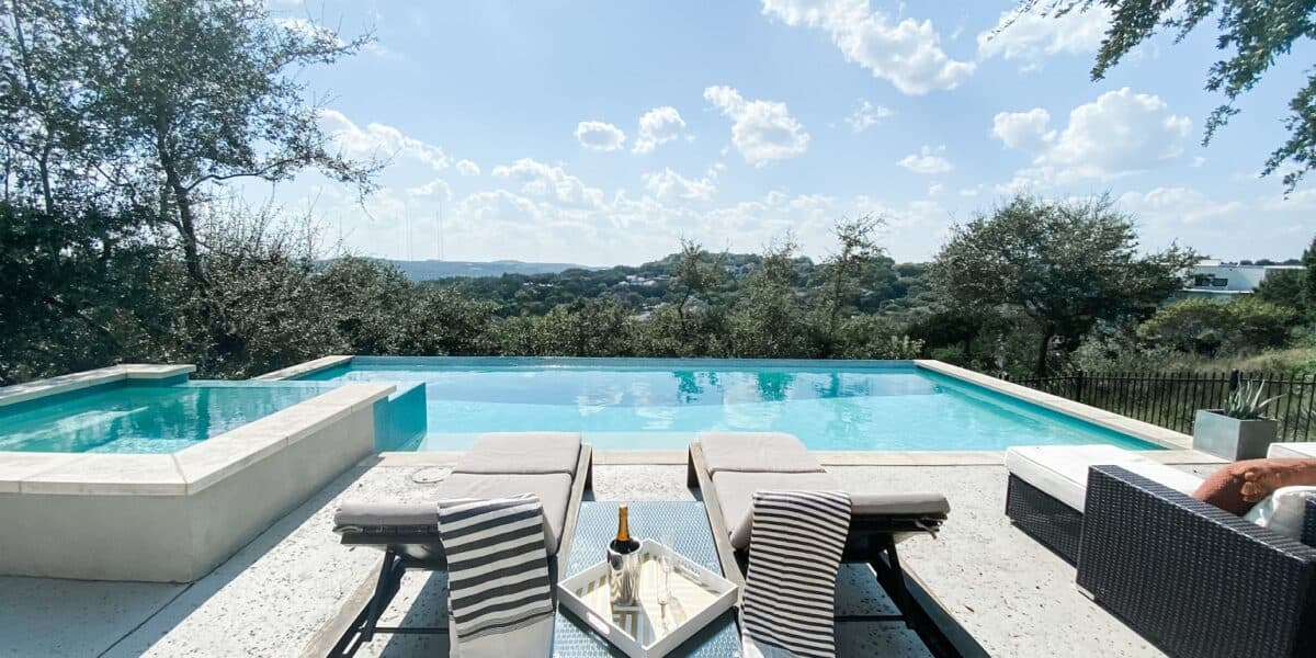 Pool with a View! Modern light-filled home with 2 decks austin rental