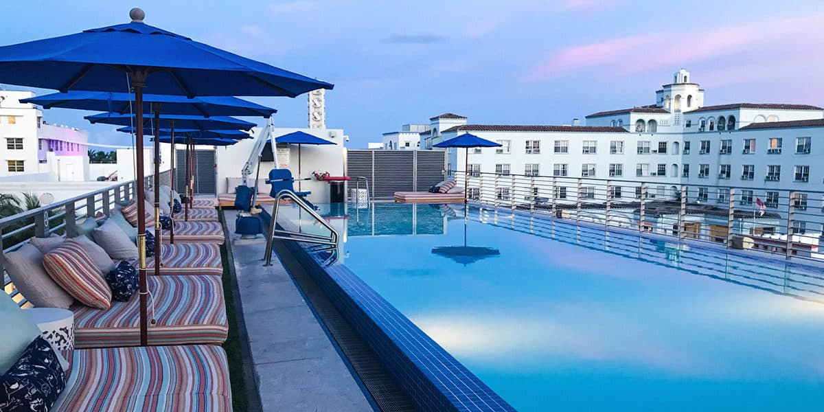 Rooftop with views of South Beach miami rental