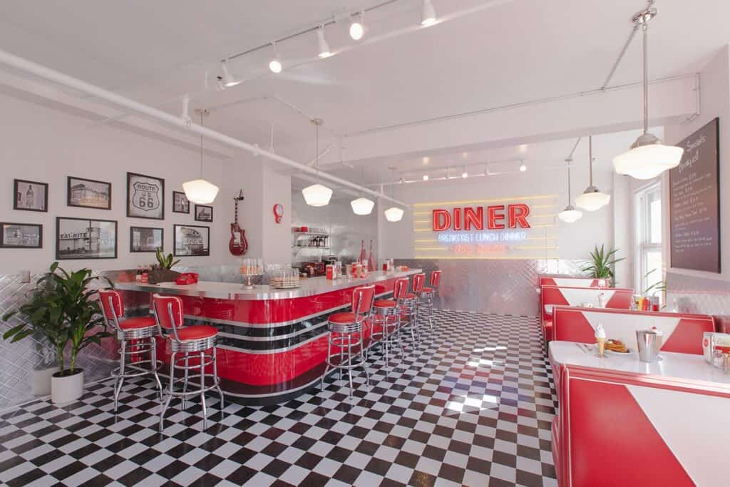 Spacious Downtown Sun Drenched 50s Retro Neon Diner los angeles rental