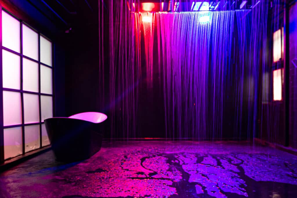 Unique Blackout Rain Room studio with heated water nyc rental