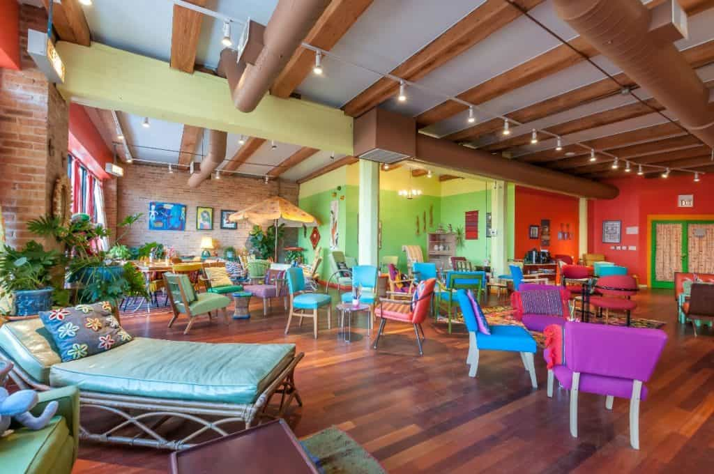 West Loop loft with vibrant colors and vintage furniture chicago rental