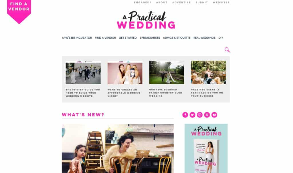 a practical wedding homepage