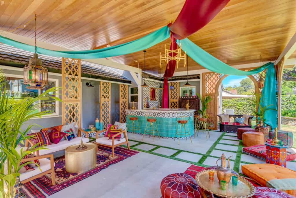 colorful boho outdoor bar and venue space