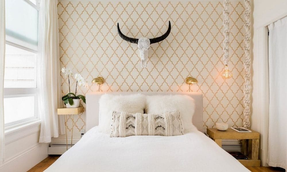 San Francisco photo shoot location with white bed and trendy decor