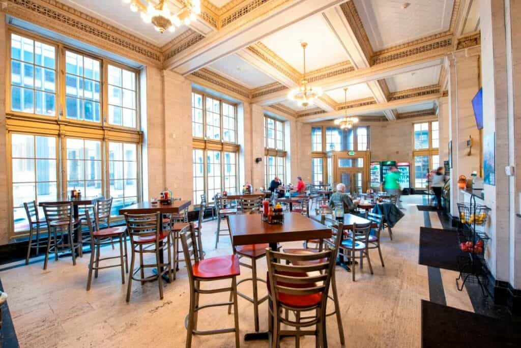 converted bank cafe in baltimore