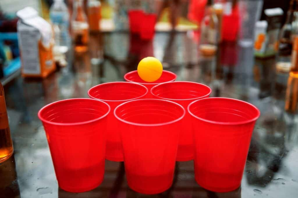 beer pong setup at party drinking game