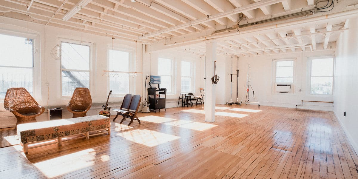 Large, bright production space for rent in Boston with wood floors and natural light.