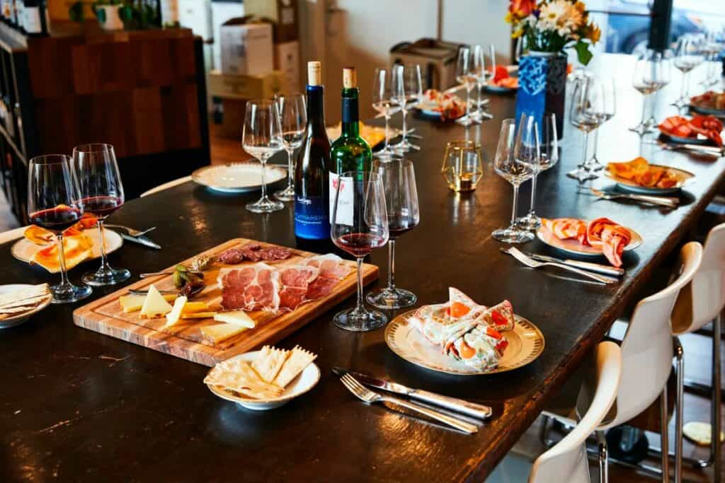 Boston winery with charcuterie board
