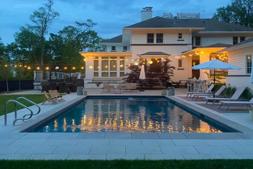 european style mansion with pool
