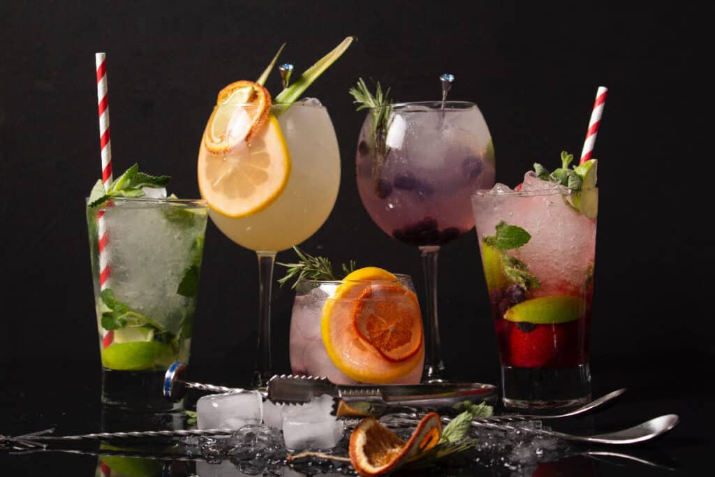 colorful cocktails for butterfly theme party