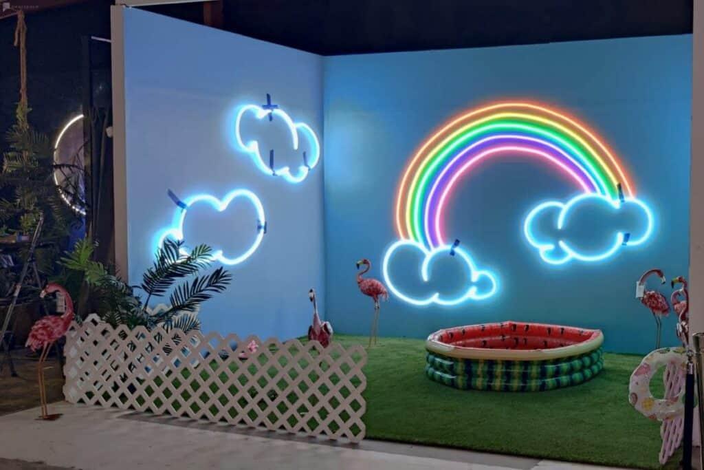 neon themed indoor studio