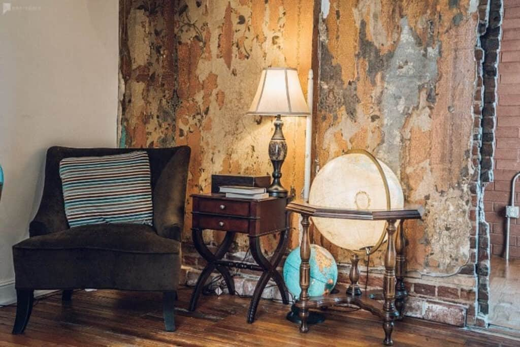 eclectic and retro reading room