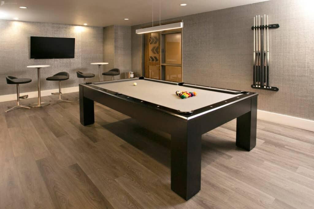 sleek, contemporary game room