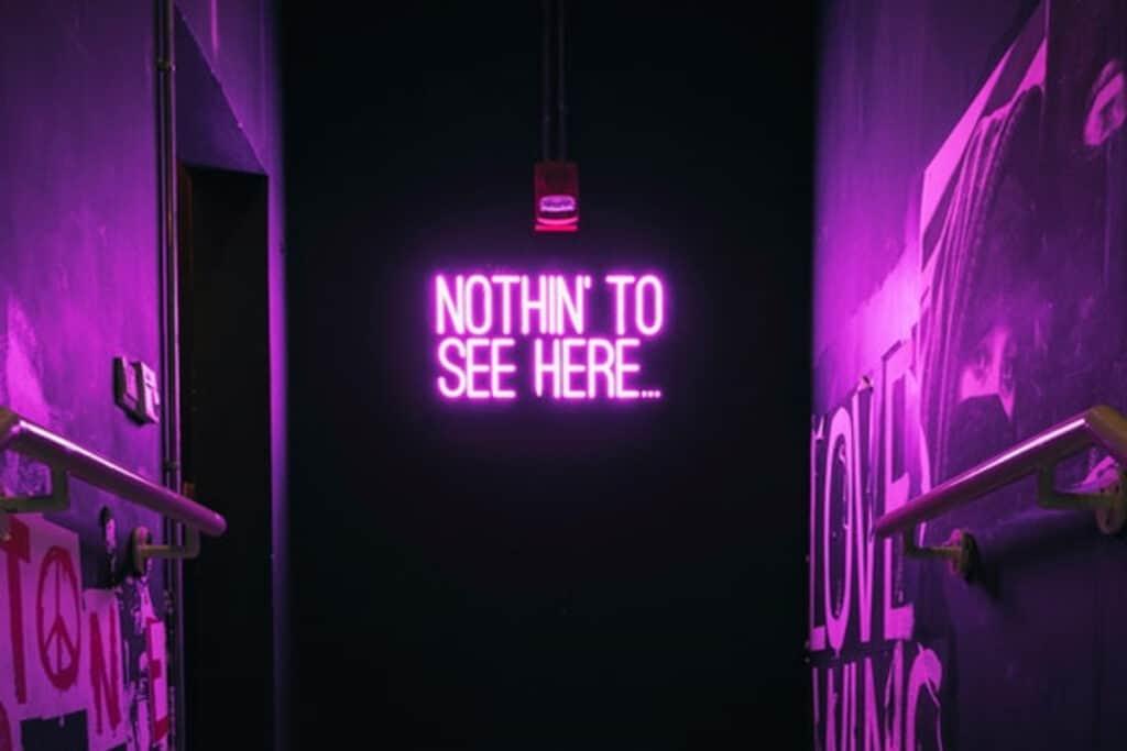 neon sign in venue