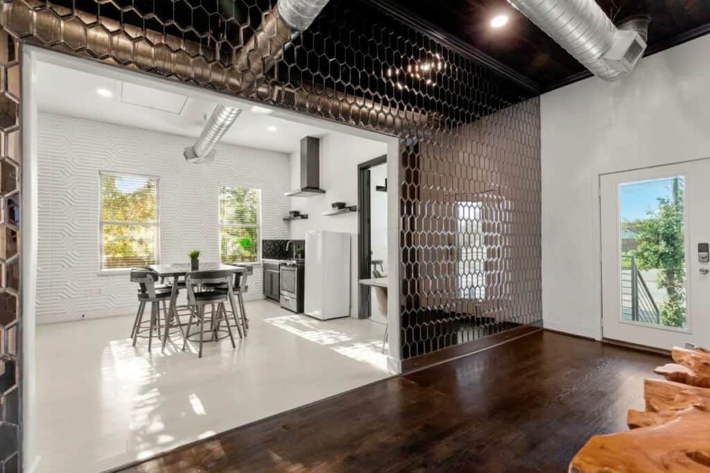 modern venue with meeting space and kitchen