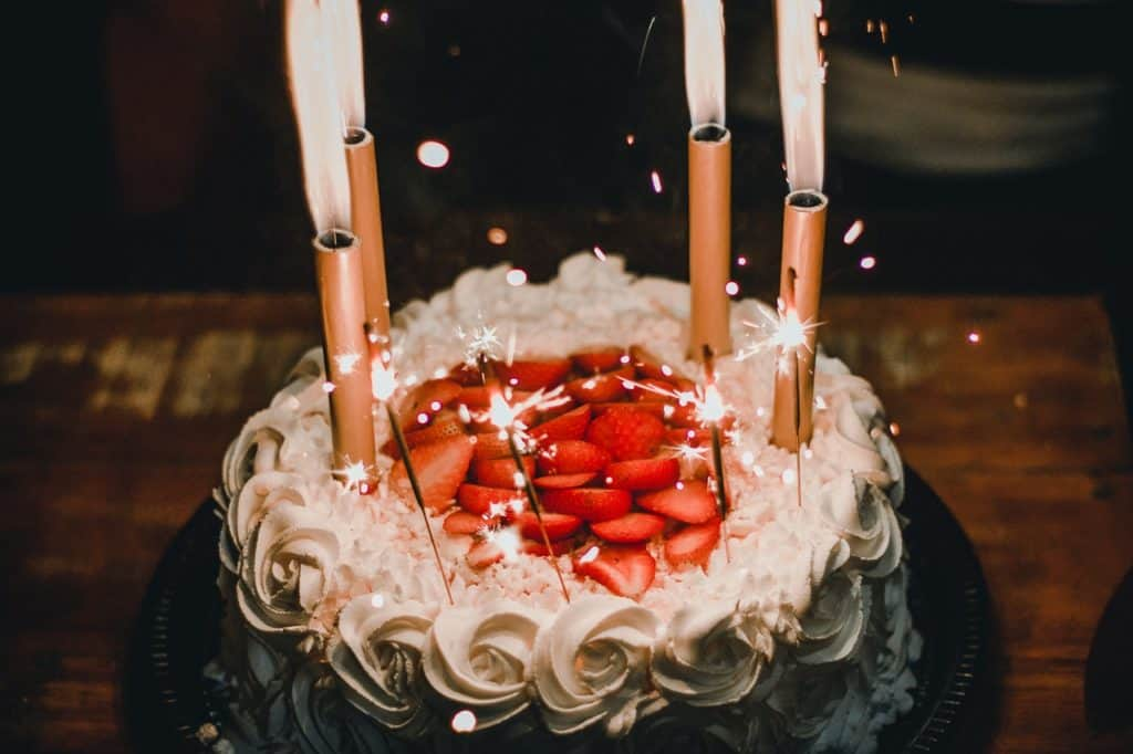 birthday cake with sparklers
