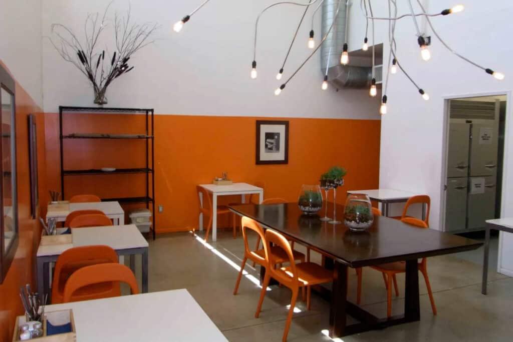 contemporary kitchen and demo space in LA