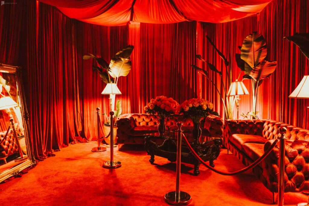 luxurious red rooms in DTLA