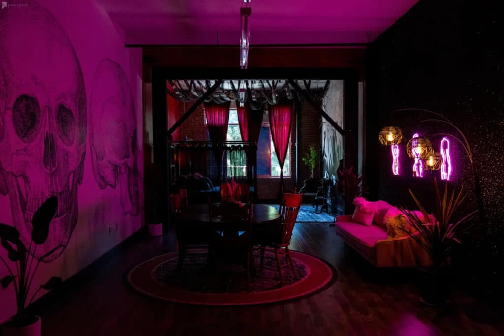 edgy glam apartment studio with goth accents