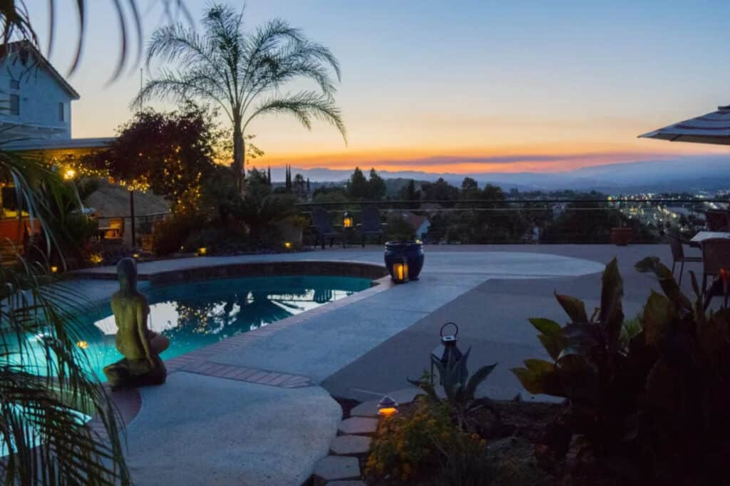 LA pool deck with spectacular city views