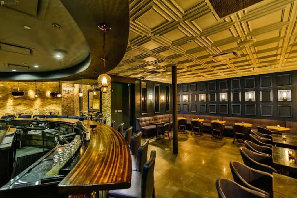 retro sophisticated underground bar