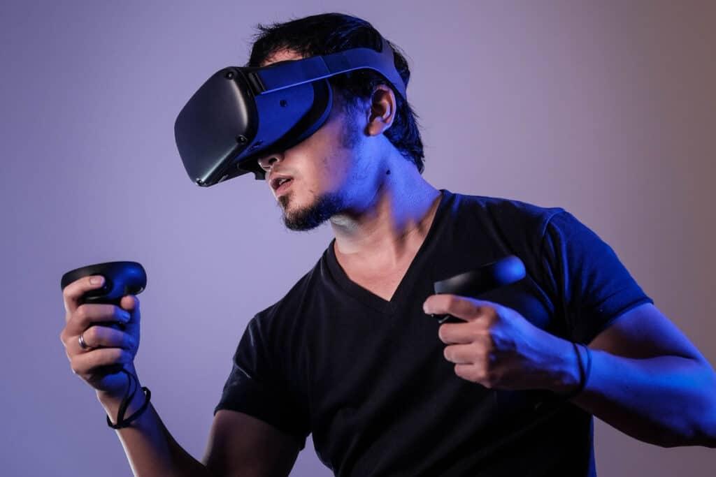 man playing virtual reality AI game