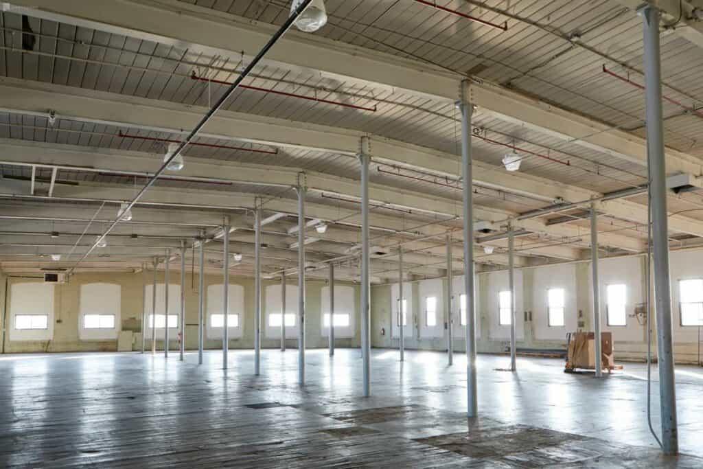 huge empty warehouse with natural light passaic