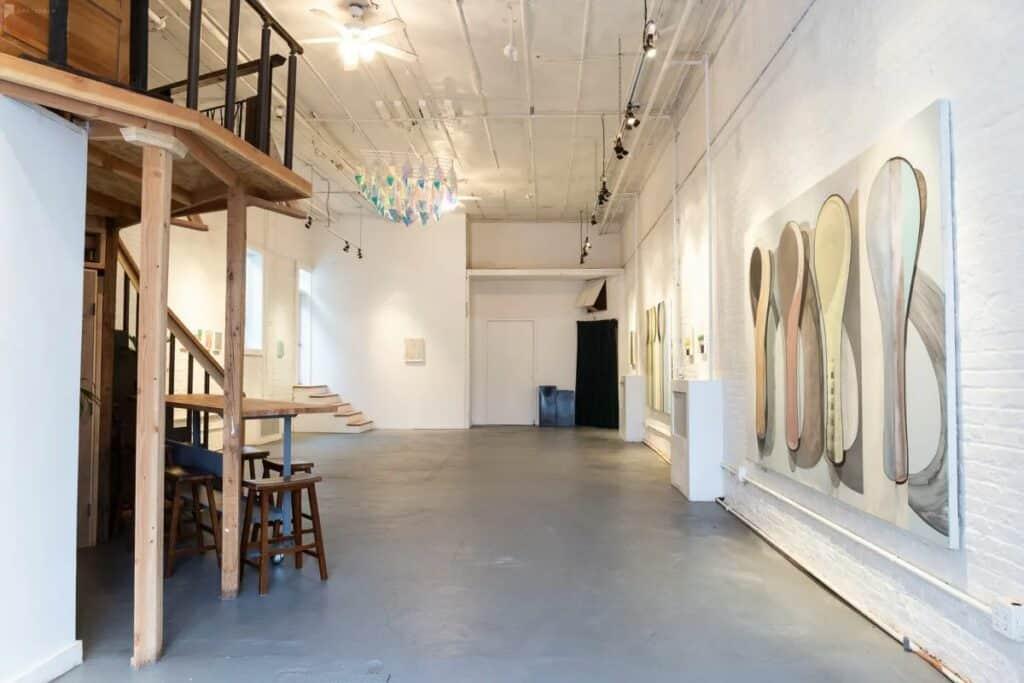 elegant white brick gallery event space
