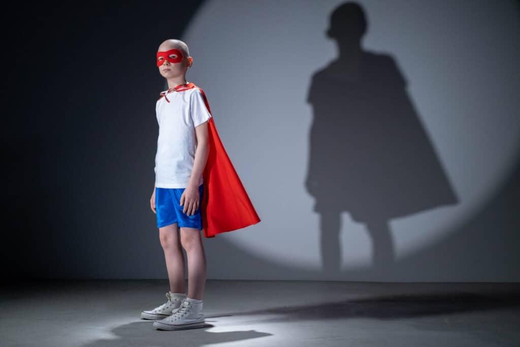 superhero in hard light