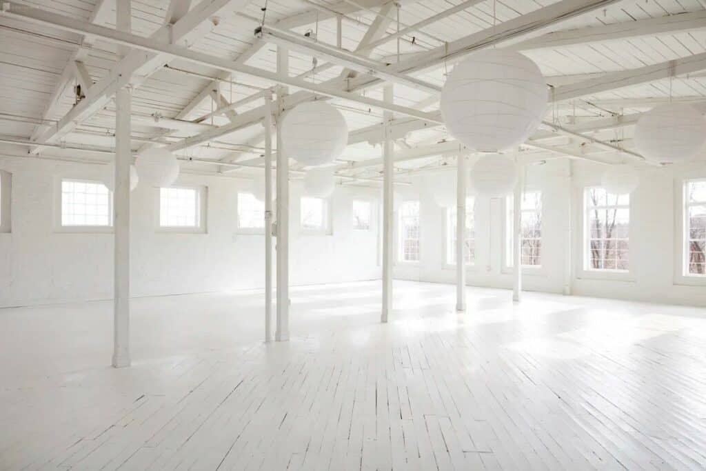 white brick loft event space