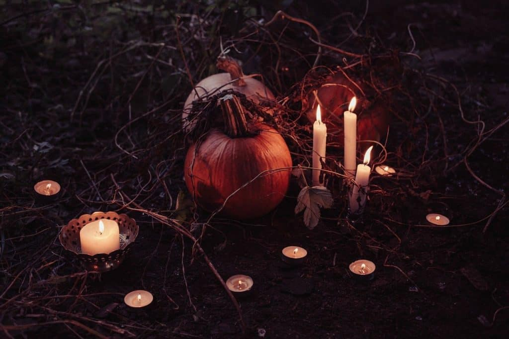 halloween pumpkin and candles