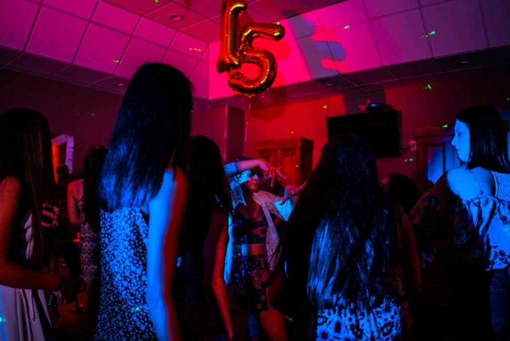 kids at a birthday party dancing