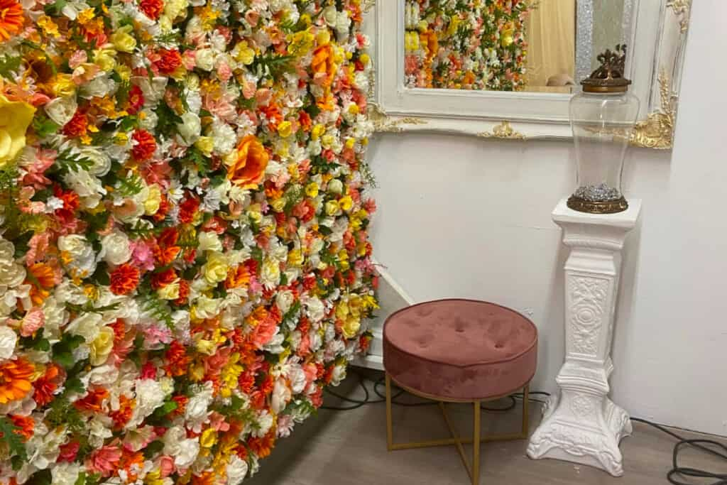 creative space with flower wall