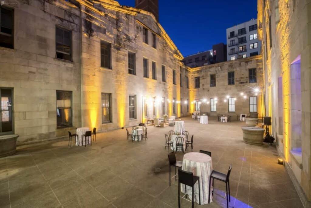 spacious historic courtyard