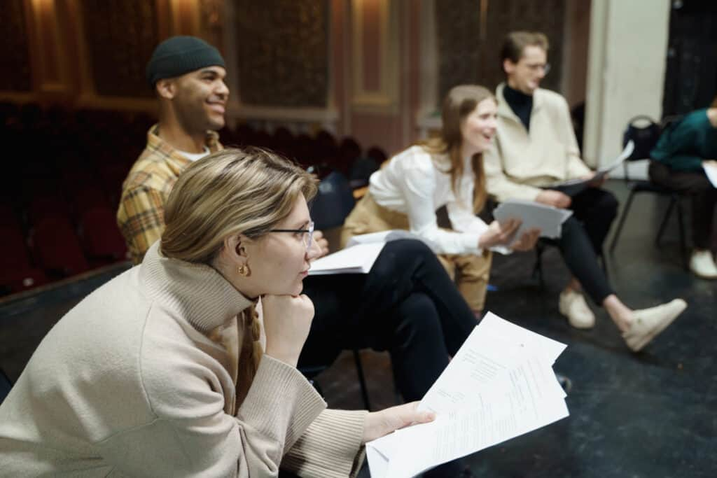 play rehearsal with script