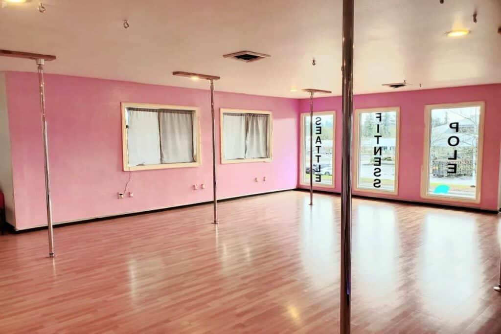 pink dance studio with poles