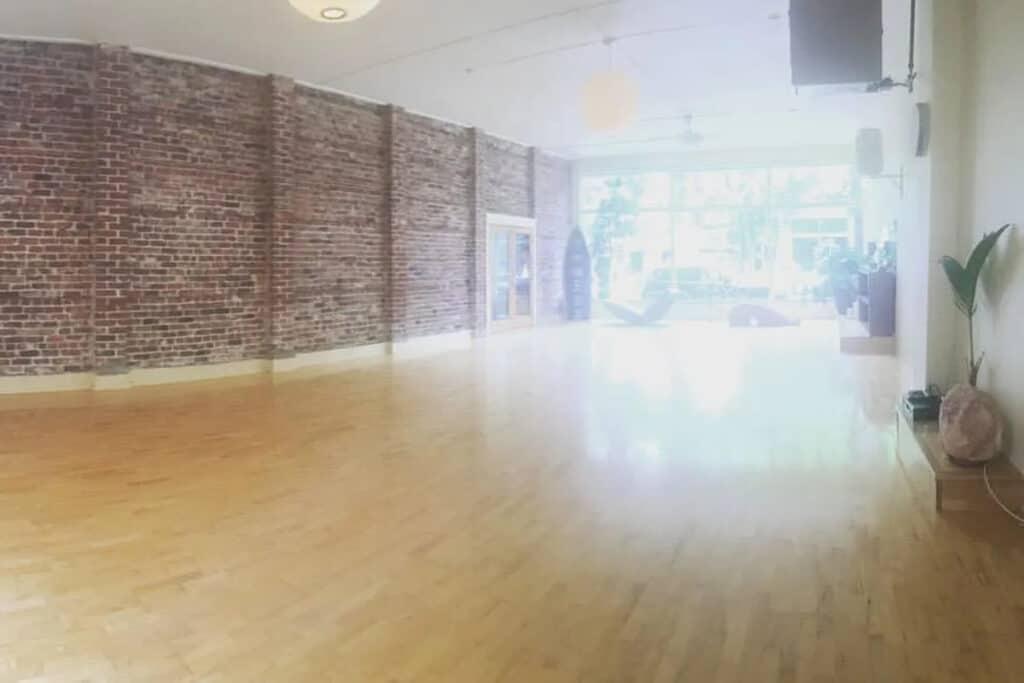 spacious and elegant yoga studio venue