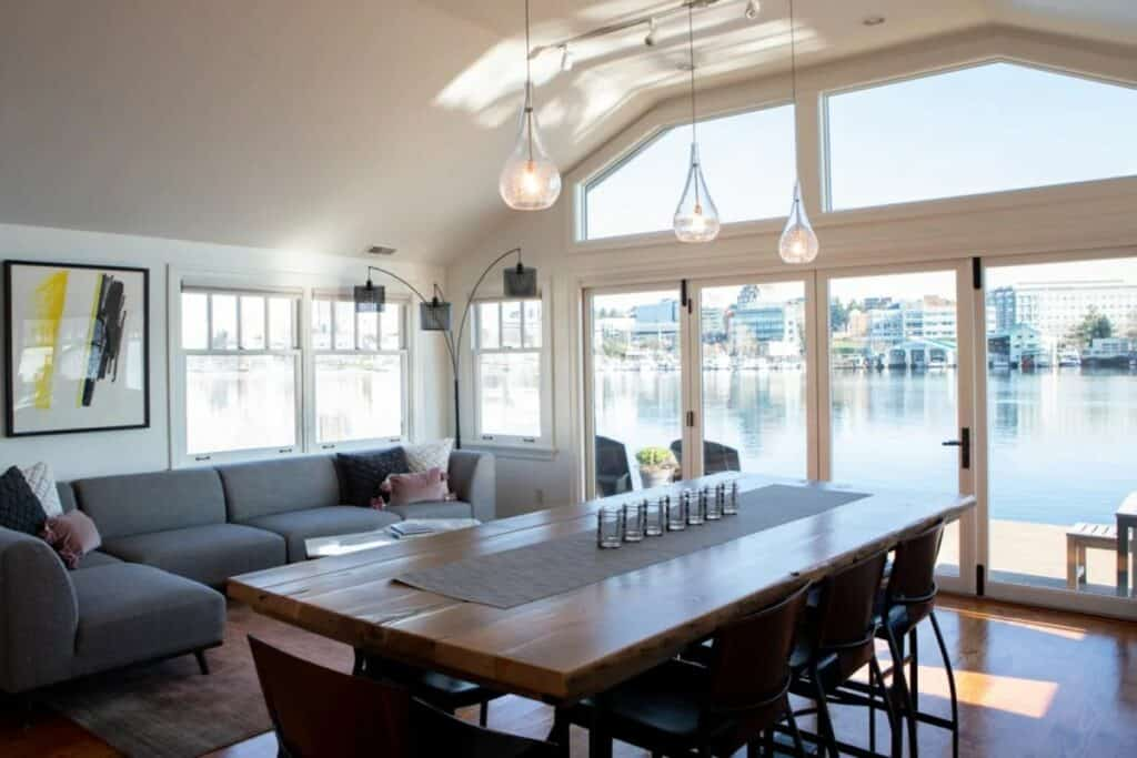 home with wrap around waterfront patio