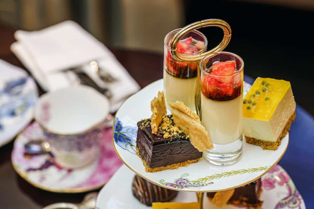 elegant tea party with patisserie