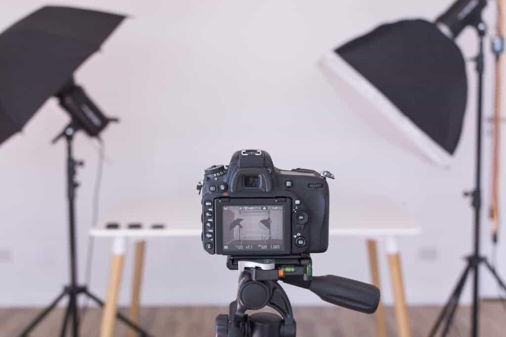 studio lights and camera