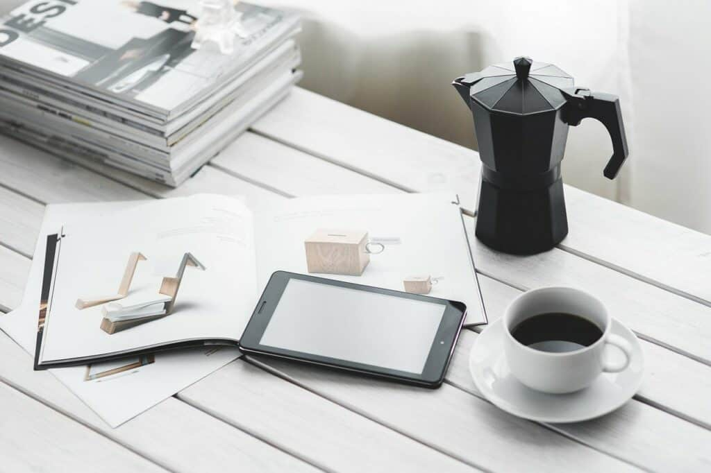 coffee table with tablet