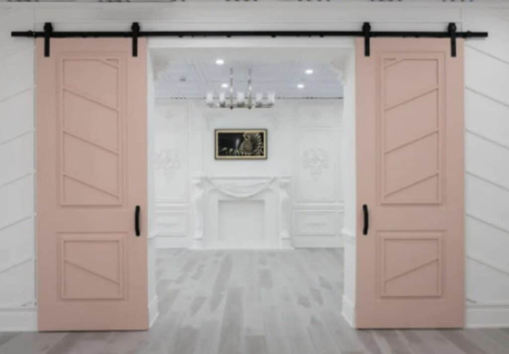 pink and white baby shower venue