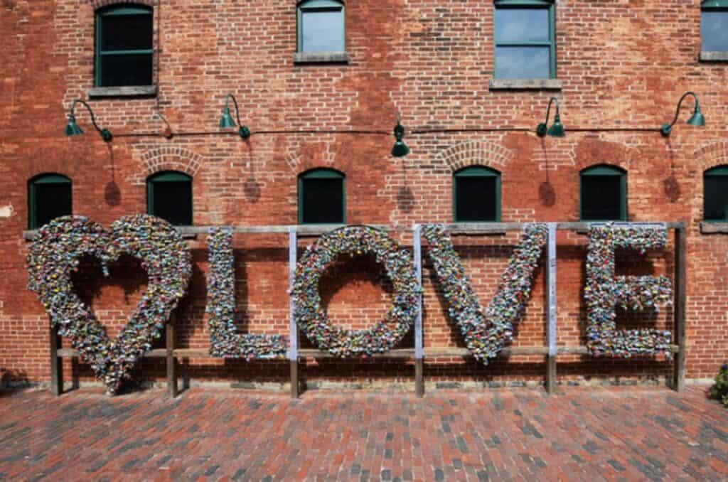 love instillation at toronto distillery locks